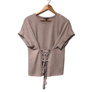 Express Rolled Sleeve Corset Waist Top